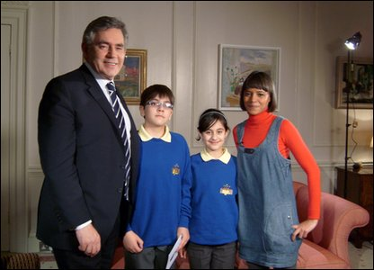 Gordon Brown,  Arian, Nivar and Leah Leah