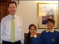 Leader of the Liberal Democrats Nick Clegg and Press Packers Nivar and Arian