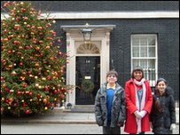 Leah and our Press Packers outside Number 10