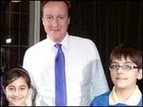 Arian and Nivar with David Cameron