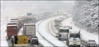 Traffic in the snow in Scotland