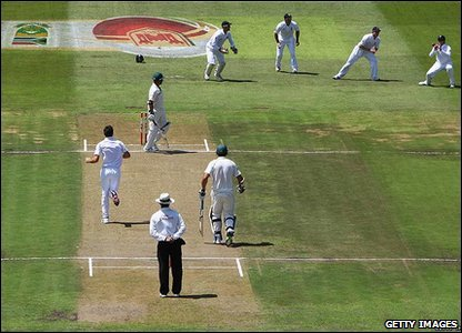 But was it such a good idea?  South Africa's Ashwell Prince only managed to score two runs before being caught out by England's Graeme Swann.