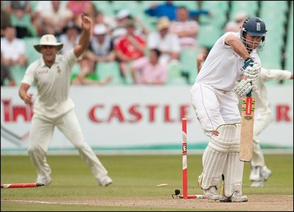 Andrew Strauss is bowled by Morne Morkel (out of picture)