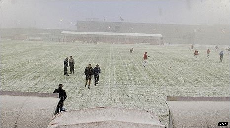 Pitches across Scotland are frozen
