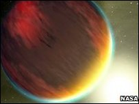 Artist's impression of a Jupiter-sized exoplanet