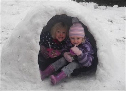 children in an igloo