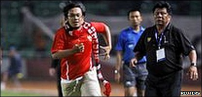 Hendri Mulyadi on the pitch at Jakarta