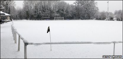 Frozen football pitch