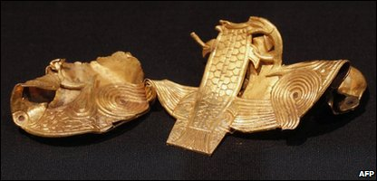 A sheet gold plaque that's part of the hoard and may have once been part of a shield belonging to an Anglo Saxon King