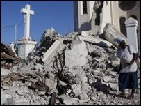 The ruins of a church destroyed in the quake