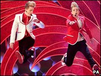 Jedward performing at the National television Awards