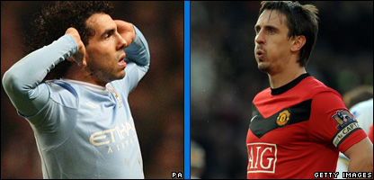 Carlos Tevez and Gary Neville