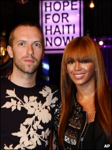Coldplay's Chris Martin with Beyonce