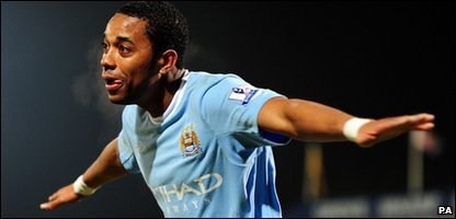 Manchester City forward Robinho celebrating after scoring against Scunthorpe in the FA Cup