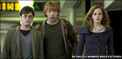 "Daniel Radcliffe as Harry Potter, Rupert Grint as Ron Weasley and Emma Watson as Hermione Granger in Warner Bros. Pictures"" fantasy adventure ""Harry Potter and the Deathly Hallows - Part 1Daniel Radcliffe as Harry Potter, Rupert Grint as Ron Weasley and Emma Watson as Hermione Granger in Warner Bros. Pictures' fantasy adventure ""Harry Potter and the Deathly Hallows - Part 1"