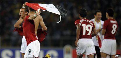 Mohamed Zidan of Egypt celebrates after winning their final match of the African Cup of Nat