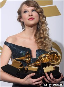 Taylor Swift looks like she's got her hands full! The country star got four Grammys - including album of the year for Fearless.