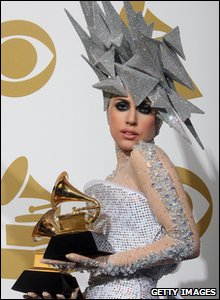 Check out Lady GaGa's headpiece! The music star got two arards for best dance recording for Poker Face and best electronic/dance album for The Fame.