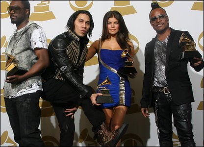 Black Eyed Peas pose for the cameras.They got three Grammys including best short video for Boom Boom Pow and best pop performance I Gotta Feeling.