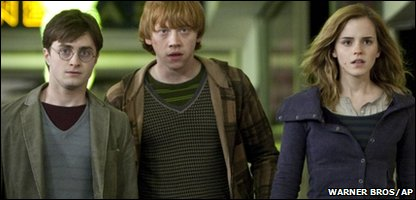 Daniel Radcliffe as Harry Potter, Rupert Grint as Ron Weasley and Emma Watson as Hermione Granger in Harry Potter and the Deathly Hallows - Part 1