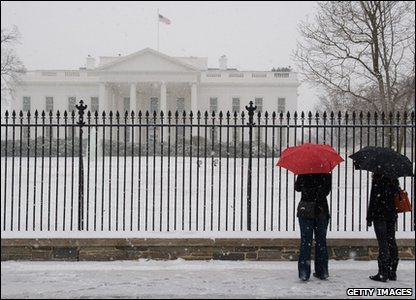 White House covered in snow