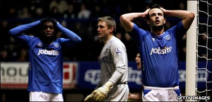 Marc Wilson of Pompey reacts to missing a chance to score during the Barclays Premier League match between Portsmouth and West Ham United at Fratton Park on January 26, 2010