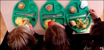 Kids eating school dinners