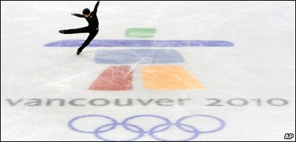 Someone skating during a practice session before the Winter Olympics start in Vancouver, Canada