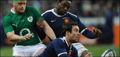 France's Morgan Parra battles for the ball at the Six Nations match against Ireland.