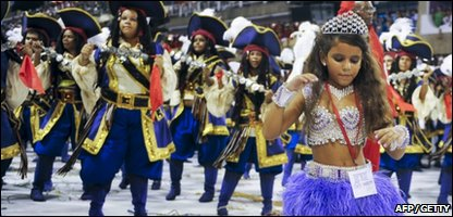 Julia leading her samba group at the Rio Carnival
