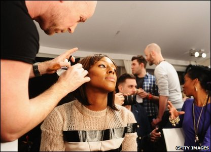 Loads of celebs took part in the fundraising fashion show - here's Alexandra Burke getting ready behind the scenes...