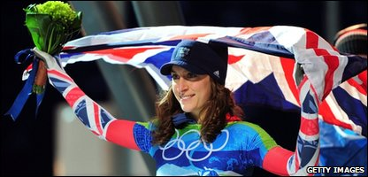 Amy Williams after winning her gold medal