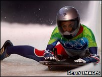 Shelley Rudman competing in the skeleton bob