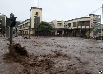 Floodwaters in Funchal, Madeira
