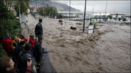 Flood waters in Funchal