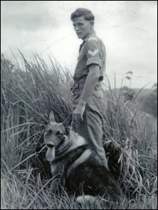 RAF police dog Lucky with Cpl. Bevel Austin Stapleton