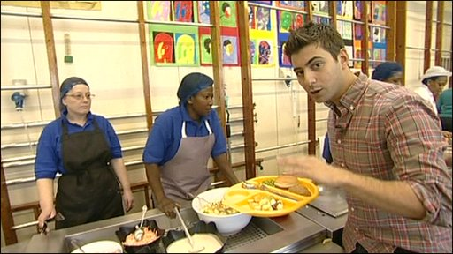Ricky in a school canteen