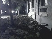 Rubble from earthquake in central Santiago -