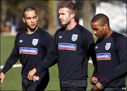 David Beckham, Jermaine Defoe and Theo Walcott