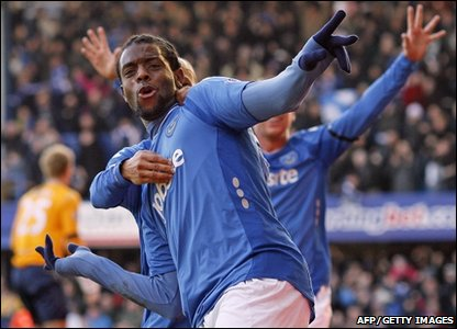French striker Frederic Piquionne  celebrates scoring his second goal against Birmingham City in the FA Cup
