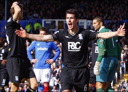 Birmingham City's Liam Ridgewell tries to convince officials that the ball crossed the line.