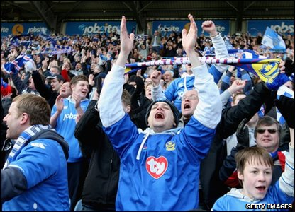 Portsmouth fans celebrate the club's win