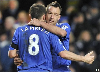 John Terry hugs Frank Lampard celebrate their FA Cup win over Stoke