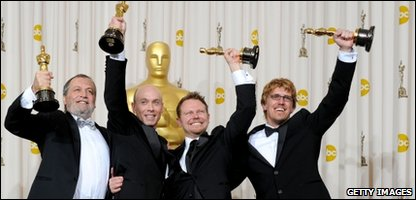 "Joe Letteri, Stephen Rosenbaum, Richard Baneham and Andrew Jones, winners of Best Visual Effects for ""Avatar,"" pose in the press room at the 82nd Annual Academy Awards"