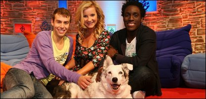 Mabel with Blue Peter presenters Joel, Helen and Andy