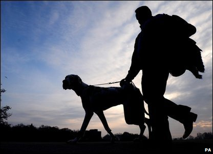 Silhouette of someone taking their dog to Crufts