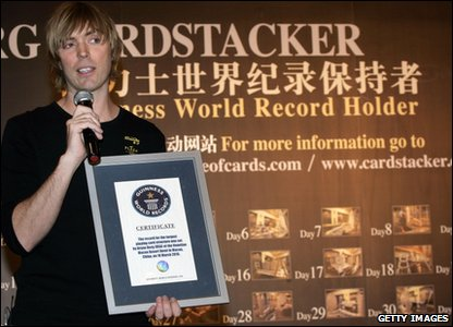 Bryan Berg holding certificate from the Guiness Book of Records