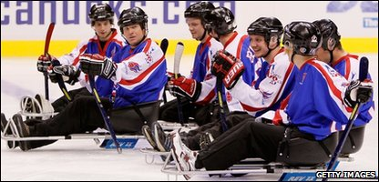 Members of the British Battle Back ice sledge hockey team