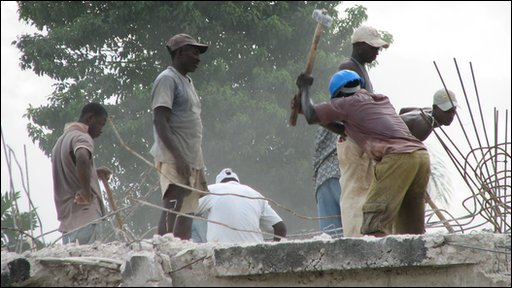 Haitians work to repair the country