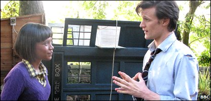 Leah talking to actor Matt Smith